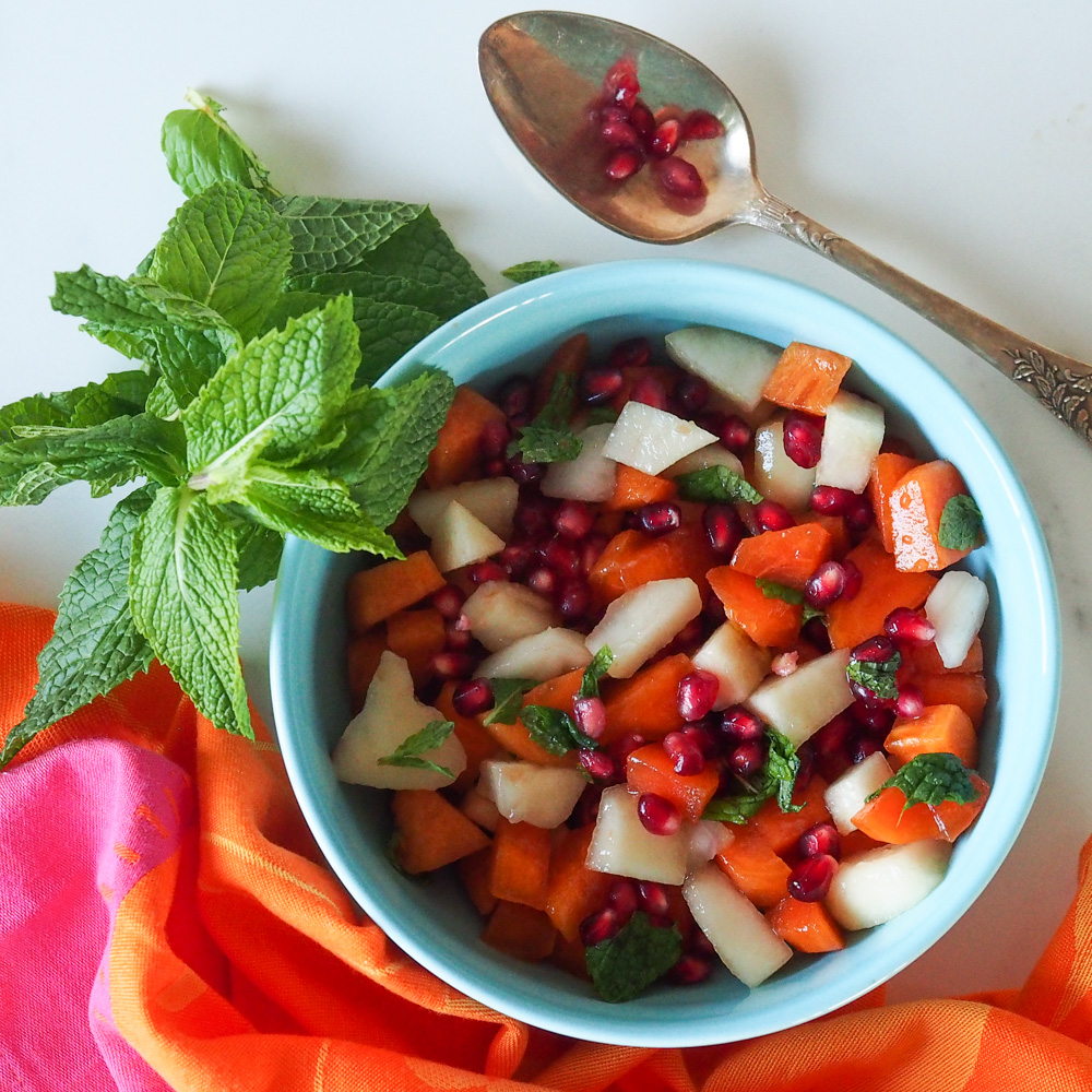 Persimmon, Pomegranate and Pear Fruit Salad