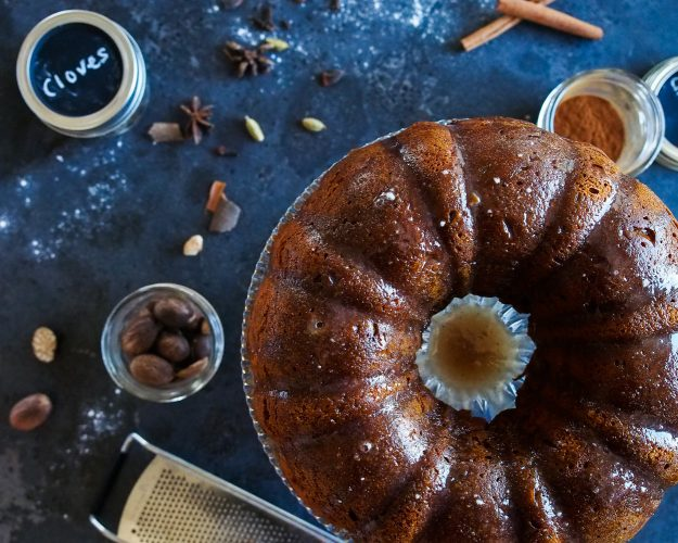 Pumpkin Coffee Cake with Chai Glaze