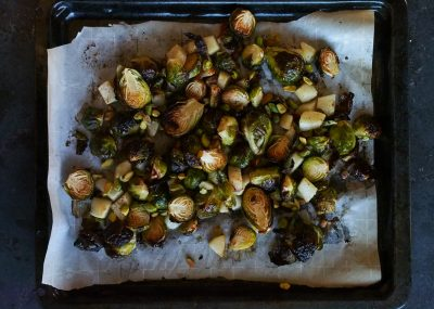 Brussel sprouts with pistachios and pear