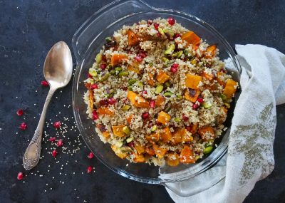Pistachio, Pomegranate, Butternut Squash Quinoa Winter Salad